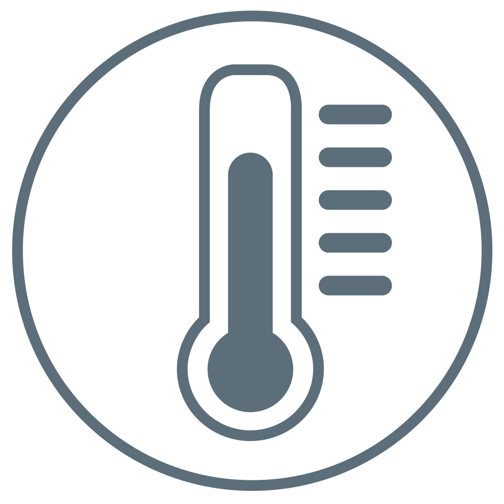 A grey-colored thermometer indicating that the product can withstand warm conditions.