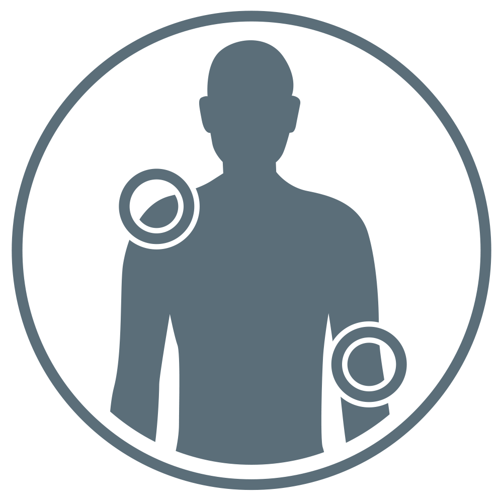 Human torso with shoulder and elbow highlighted by circles.