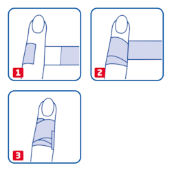 Instruction how to use Leukoplast Detectable finger dressing