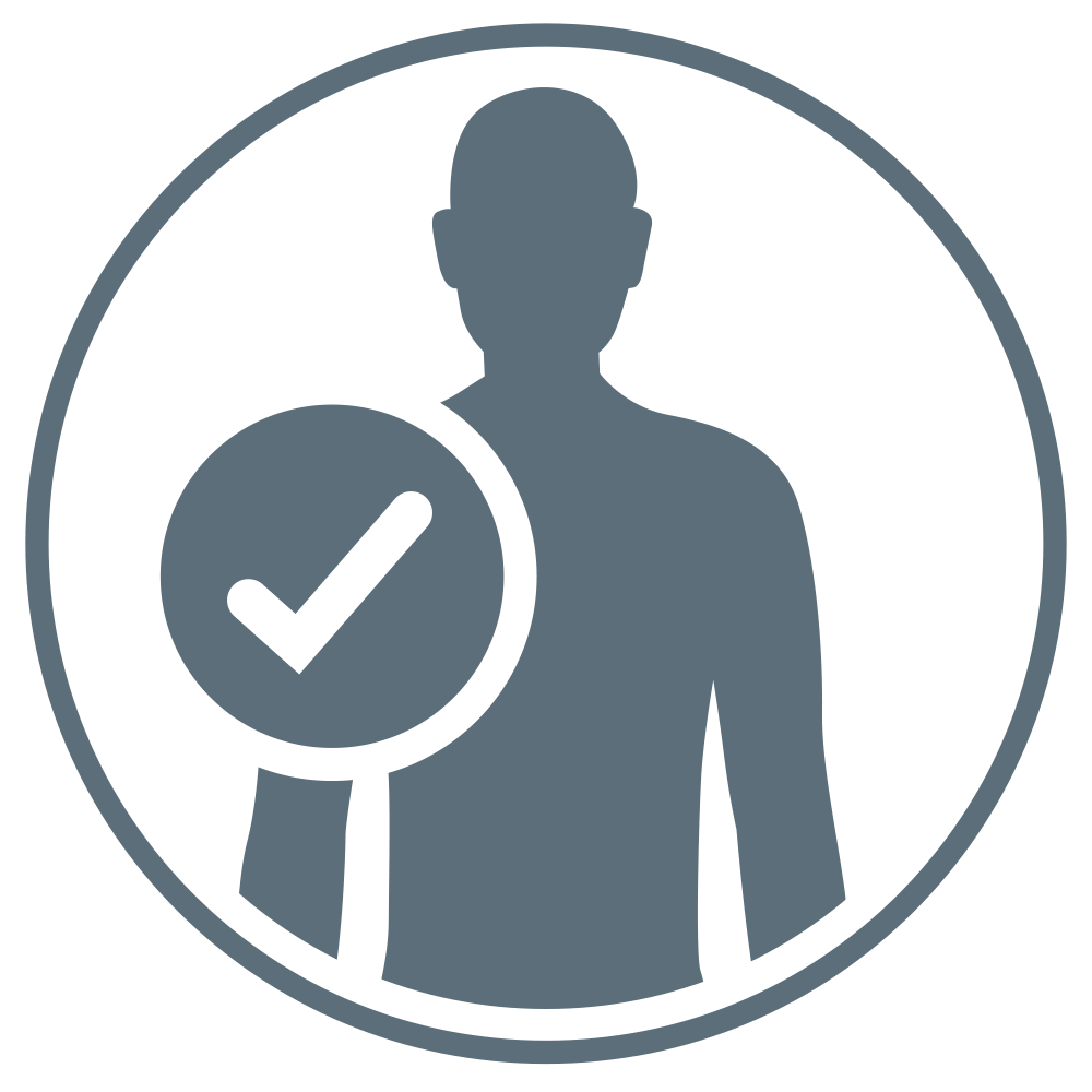 A checkbox on a human torso demonstrating that this product is gentle on the skin.