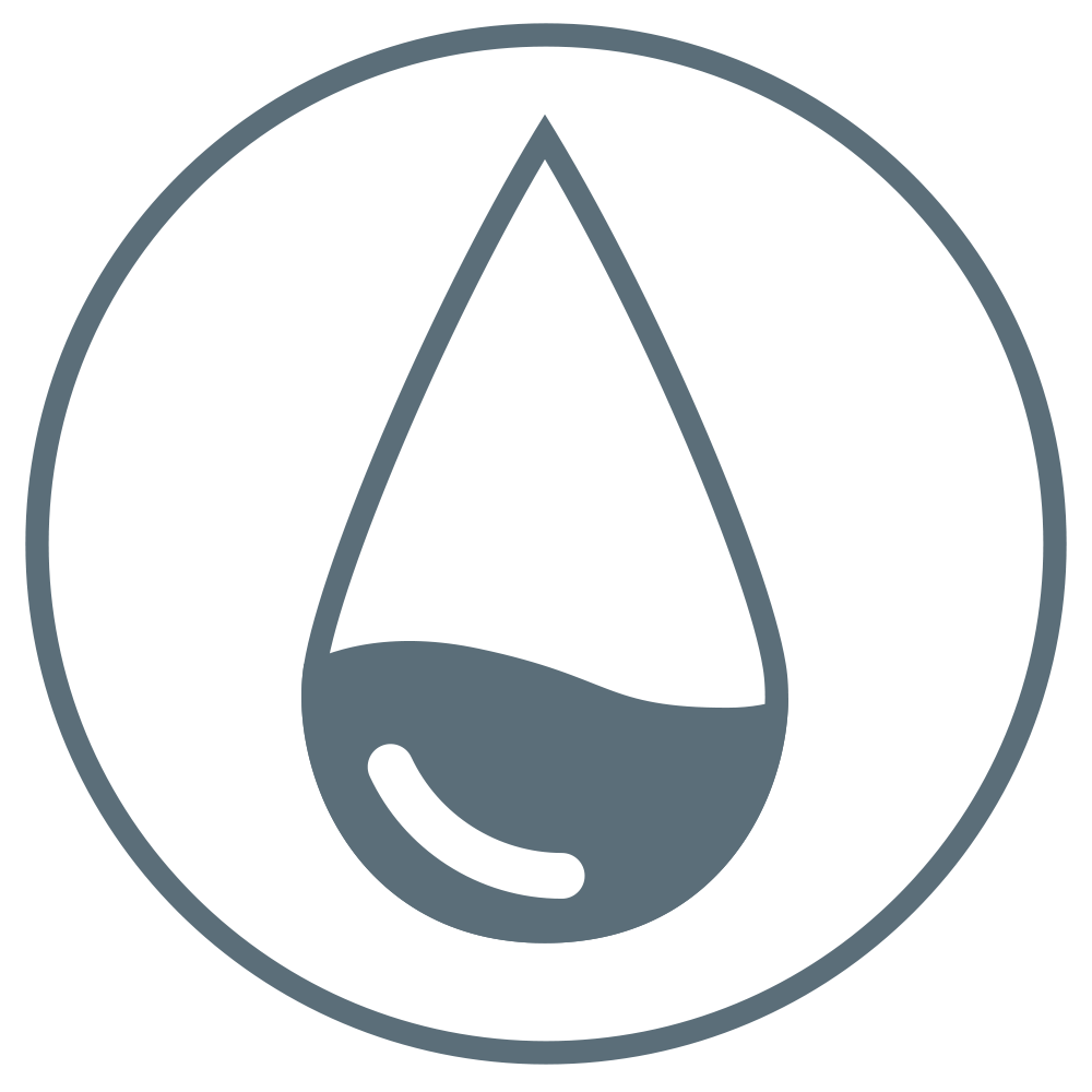 Droplet-shaped outline, its lower half darkened to represent fluid management.