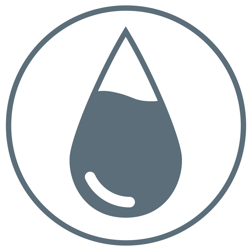 Droplet-shaped outline filled almost to the top to represent high absorption capacity.