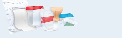 Copies of Leukoplast plasters for professional use: various wound dressings and bandages.