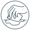Graphic representation of a hand absorbing fluid with a cloth to illustrate drying of the wound as a wound treatment step.