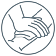 Graphic representation of a hand pressing a compress on a wound to illustrate the stopping of the bleeding as a treatment step.