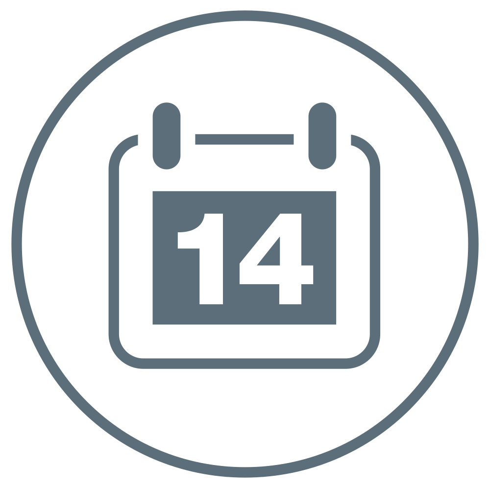 Calendar showing the figure 14 for the number of days this product can be used.