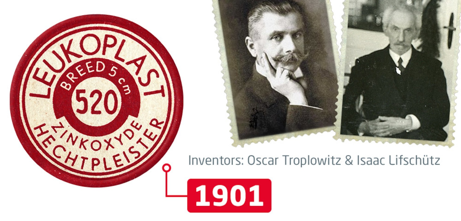 We are looking frontally at a sample of the first Leukoplast roll of self-adhesive fixation tape; below it the year 1901 is indicated. Next to it, we can see a photography of inventors Oscar Troplowitz and Isaac Lifschütz.