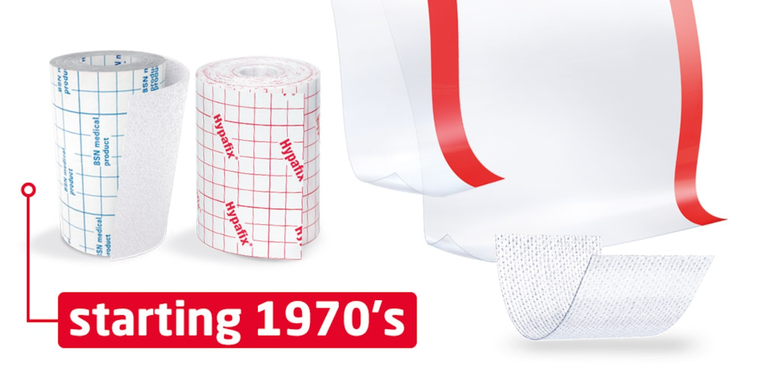 The image shows two examples of wide-area-fixation material by Leukoplast and the time stamp 1970s.