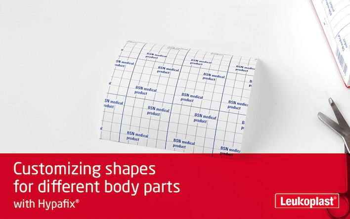 Here we demonstrate that Hypafix stretch medical tape is suitable for use on different parts of the body. We see the hands of an HCP cutting to size five different shapes.