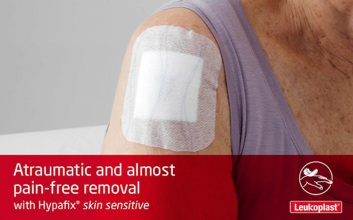 This video demonstrates that Hypafix skin sensitive is ideal in wound care of elderly thin skin: an HCP atraumatically removes a dressing from a female senior's shoulder.
