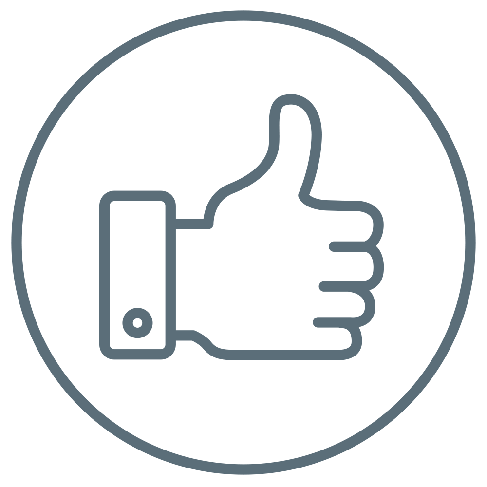 Thumbs up signal to indicate wearing comfort.