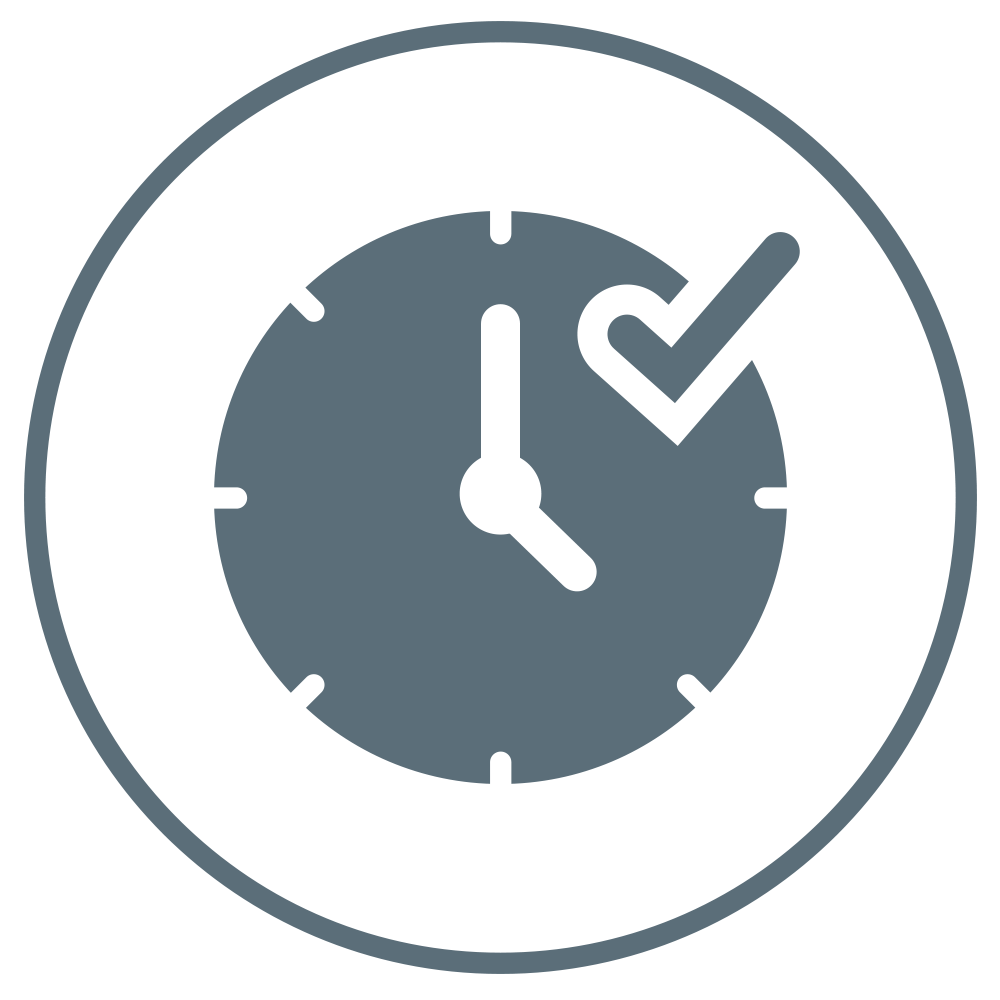 Clock with a check mark, indicating this product is long-lasting.