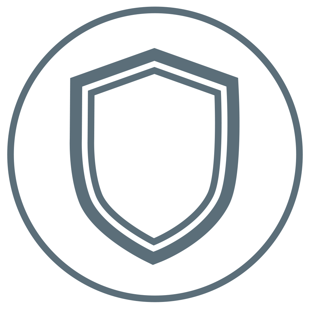 Shield demonstrating that this product protects.